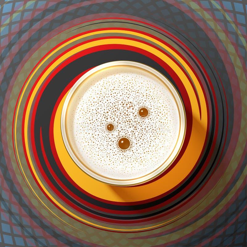 Τοπ υπόβαθρο της Γερμανίας σχεδίων Oktoberfest άποψης αφρού γυαλιού μπύρας διανυσματική απεικόνιση