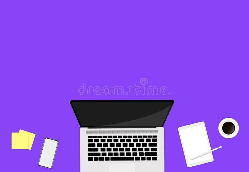 Τοπ χώρος εργασίας άποψης με τον καφέ smartphone lap-top στο υπόβαθρο χρώματος επίπεδος βάλτε το ύφος διανυσματική απεικόνιση