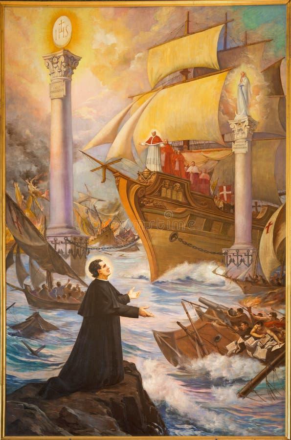 Τορίνο - η ζωγραφική των λαμπρών ονείρων Don Bosco ` sogno-οφειλόμενος-Colonne-φορώ-Bosco ` ή των δύο στυλοβατών στοκ εικόνες με δικαίωμα ελεύθερης χρήσης