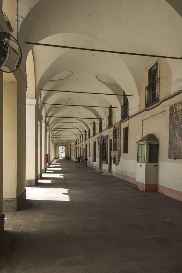 Τορίνο, Piedmont, Ιταλία Τα διάσημα arcades της πόλης στοκ εικόνες με δικαίωμα ελεύθερης χρήσης