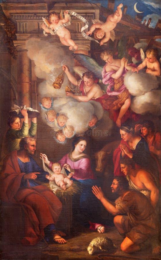 ΤΟΡΙΝΟ, ΙΤΑΛΙΑ - 14 ΜΑΡΤΊΟΥ 2017: Η ζωγραφική Nativity στην εκκλησία Chiesa Di SAN Lorenzo από το Pietro Dufour 1689 στοκ φωτογραφία