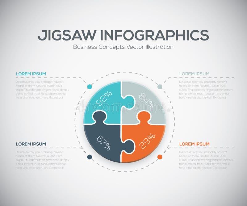 Τορνευτικών πριονιών φρέσκο πρότυπο κομματιού επιχειρησιακών γρίφων infographics διανυσματικό ελεύθερη απεικόνιση δικαιώματος