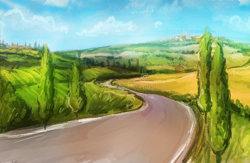 Τοσκάνη: Αγροτικό τοπίο με τους τομείς και τους λόφους απεικόνιση αποθεμάτων