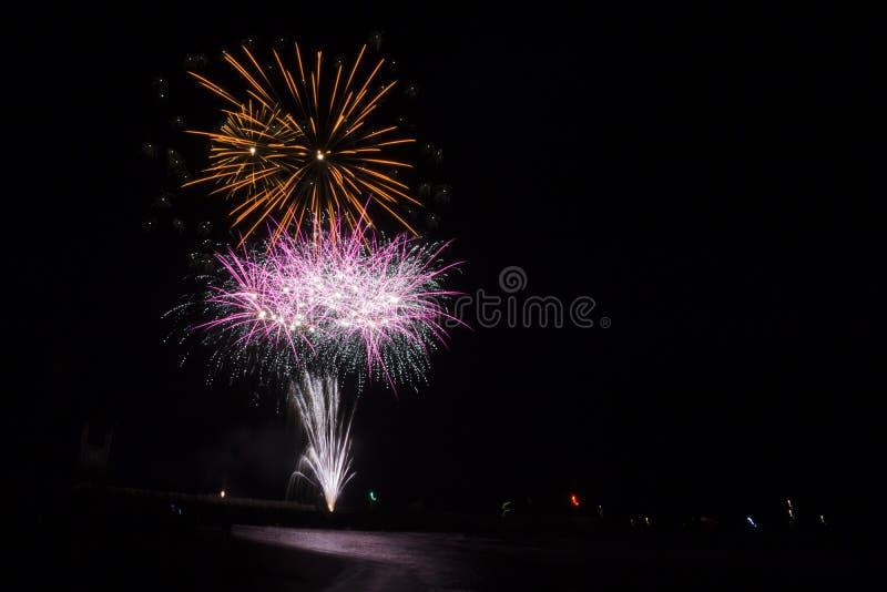 Τοσκάνη, πυροτεχνήματα Di Grosseto μαρινών στην αποβάθρα για τον εορτασμό του SAN Rocco, στοκ εικόνα