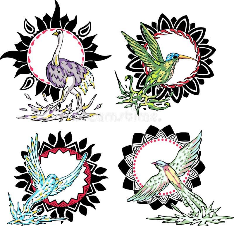 Τοτέμ - πουλιά με τα ηλιακά σημάδια απεικόνιση αποθεμάτων