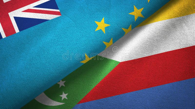 Τουβαλού και Κομόρες δύο υφαντικό ύφασμα σημαιών, σύσταση υφάσματος απεικόνιση αποθεμάτων