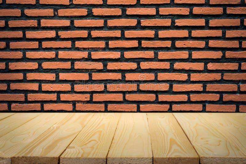 Τουβλότοιχος και ξύλινο πάτωμα για το υπόβαθρο στοκ φωτογραφία με δικαίωμα ελεύθερης χρήσης