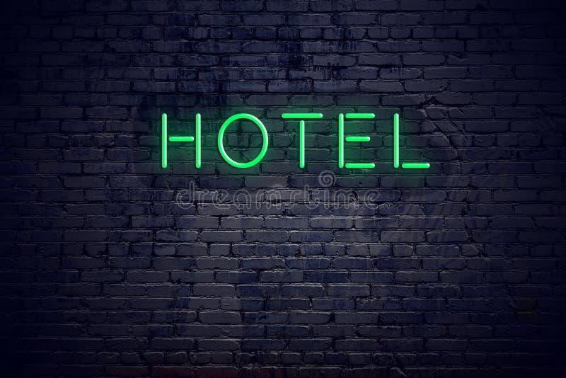 Τουβλότοιχος τη νύχτα με το ξενοδοχείο σημαδιών νέου διανυσματική απεικόνιση
