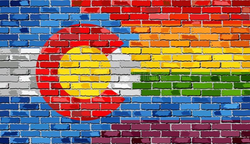 Τουβλότοιχος Κολοράντο και ομοφυλοφιλικές σημαίες απεικόνιση αποθεμάτων