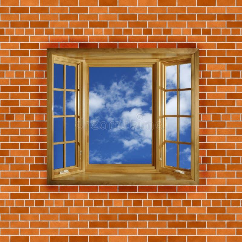 Τουβλότοιχος με τον ουρανό παραθύρων απεικόνιση αποθεμάτων
