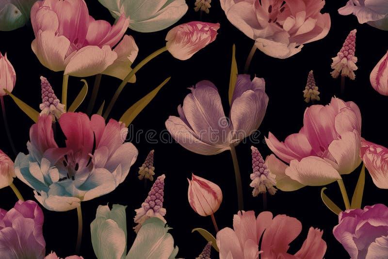 Τουλίπες και μύδια με μαύρα άνθη Μοτίβο χωρίς ραφή από ίνες στοκ εικόνες
