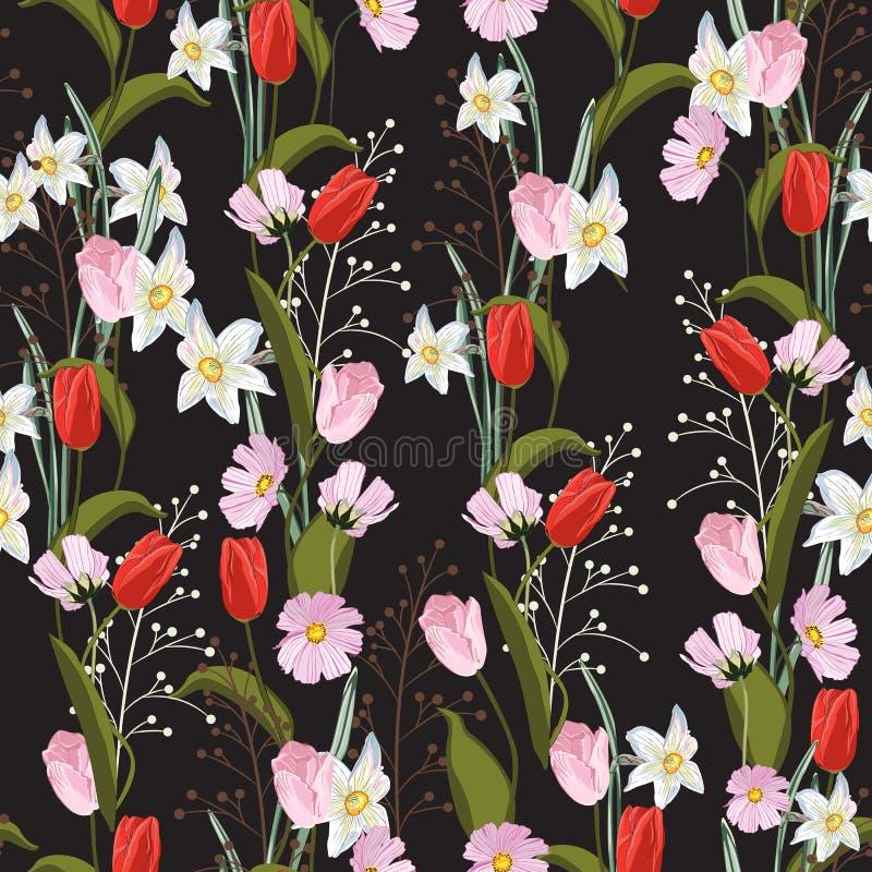 Τουλίπες Συρμένη χέρι άνευ ραφής διανυσματική σύσταση Floral σχέδιο με το διαφορετικό είδος λουλουδιών απεικόνιση αποθεμάτων