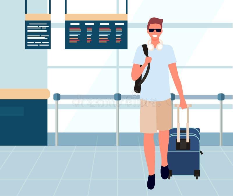 Τουρίστας με τις αποσκευές στο διάνυσμα σαλονιών αναχώρησης ελεύθερη απεικόνιση δικαιώματος