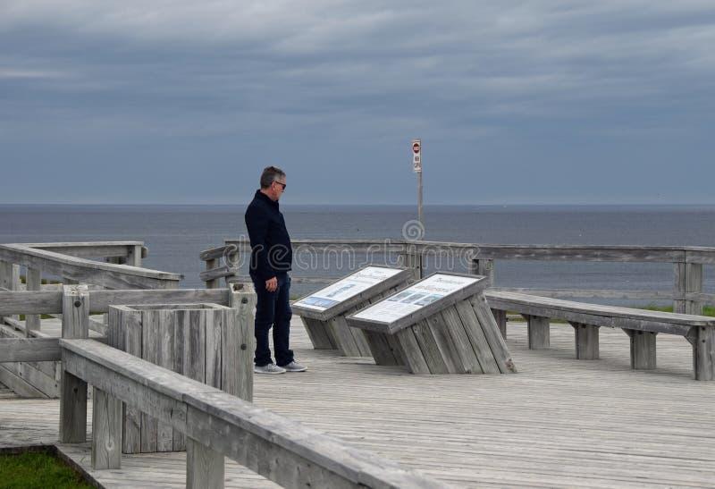 Τουρίστας που διαβάζει την πινακίδα πληροφοριών στο πεζοδρόμιο του Dundent Provincial Park στοκ εικόνες