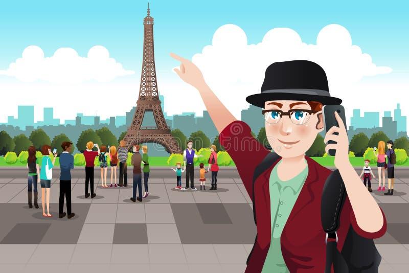 Τουρίστας που παίρνει την εικόνα κοντά στον πύργο του Άιφελ διανυσματική απεικόνιση