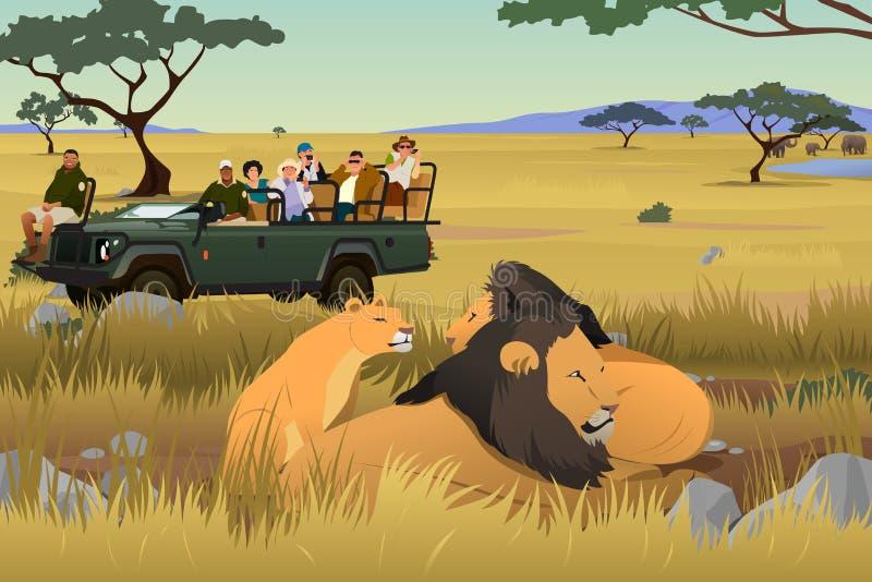 Τουρίστας στην αφρικανική απεικόνιση ταξιδιού σαφάρι διανυσματική απεικόνιση