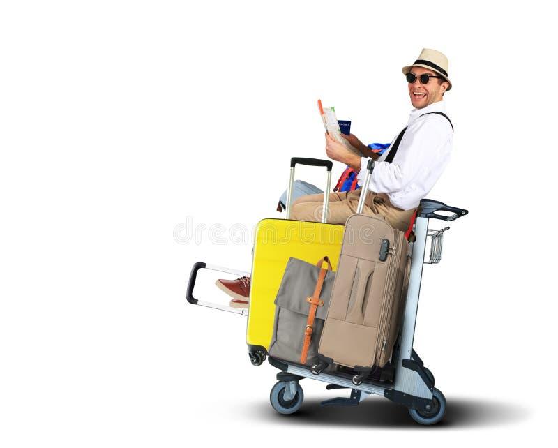 Τουρίστες αποσκευών με τις μεγάλες βαλίτσες στοκ εικόνες