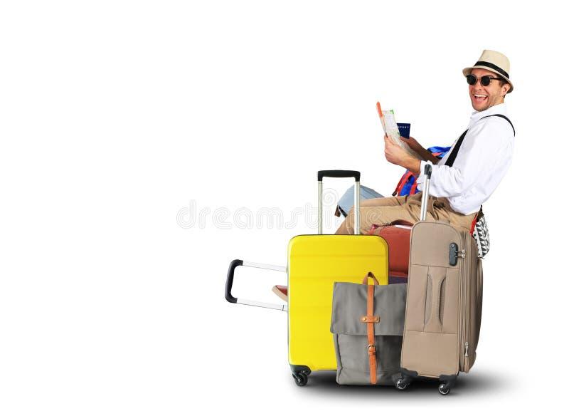 Τουρίστες αποσκευών με τις μεγάλες βαλίτσες στοκ εικόνα