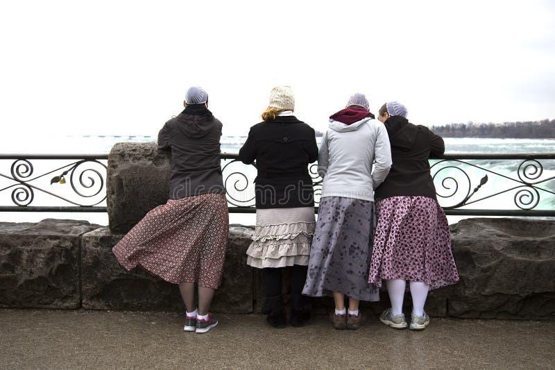 Τουρίστες που εξετάζουν τις πτώσεις Niagara στον Καναδά στοκ φωτογραφίες
