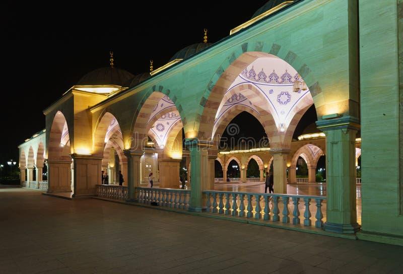 Τουρίστες στη ανοιχτή περιοχή της καρδιάς μουσουλμανικών τεμενών Τσετσενίας Όμορφος φωτισμός νύχτας ενός κομψού κτηρίου στοκ εικόνες με δικαίωμα ελεύθερης χρήσης