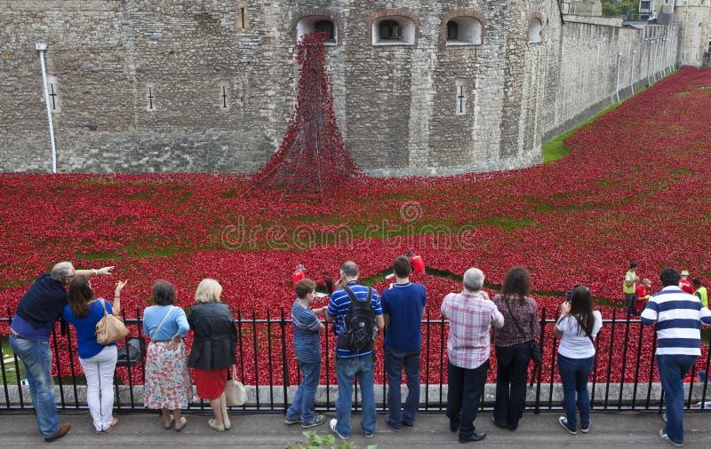 Τουρίστες στον πύργο του Λονδίνου που εξετάζει την παπαρούνα Installatio στοκ εικόνες