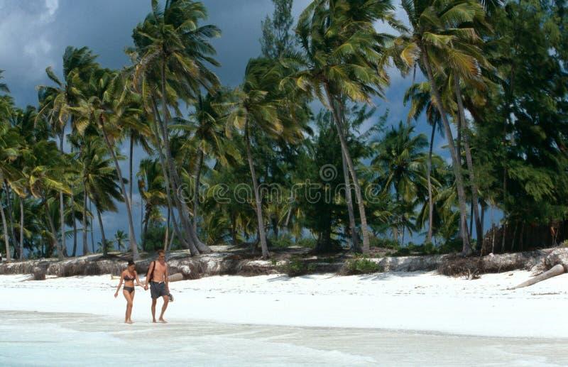 Τουρίστες strolling σε μια άσπρη παραλία σε Zanzibar στοκ φωτογραφίες με δικαίωμα ελεύθερης χρήσης