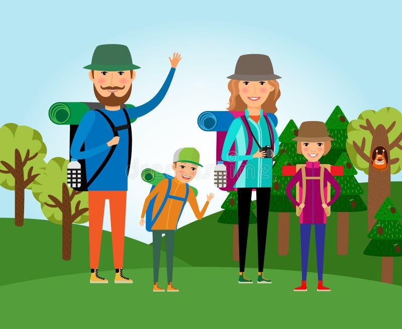 Τουρισμός με σκοπο την επαφή με τη φύση Οικογένεια στη δασική απεικόνιση διανυσματική απεικόνιση