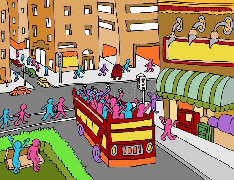 Τουριστηκό λεωφορείο πόλεων απεικόνιση αποθεμάτων