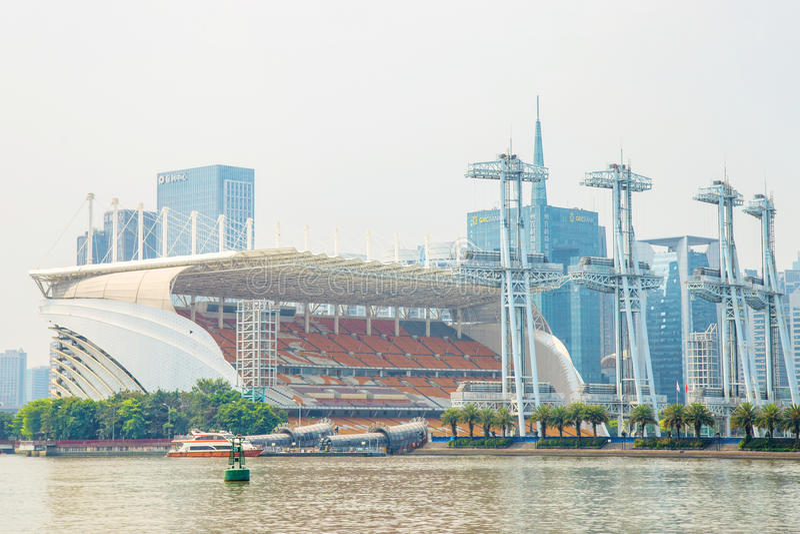 Τουριστικά αξιοθέατα Guangzhou, τόπος συναντήσεως για το άνοιγμα και το κλείσιμο των 2010 Ασιατικών Αγωνών στοκ φωτογραφία με δικαίωμα ελεύθερης χρήσης