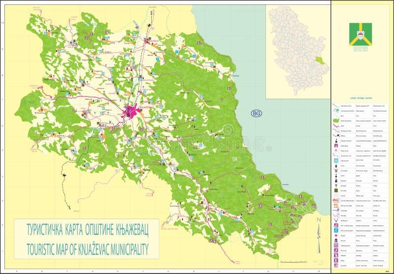 τουριστικός χάρτης του δήμου knjazevac στοκ εικόνα με δικαίωμα ελεύθερης χρήσης