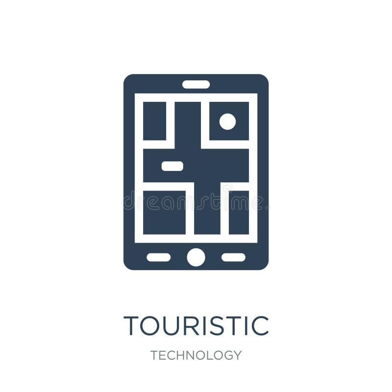 τουριστικό εικονίδιο στο καθιερώνον τη μόδα ύφος σχεδίου τουριστικό εικονίδιο που απομονώνεται στο άσπρο υπόβαθρο τουριστικό διαν ελεύθερη απεικόνιση δικαιώματος