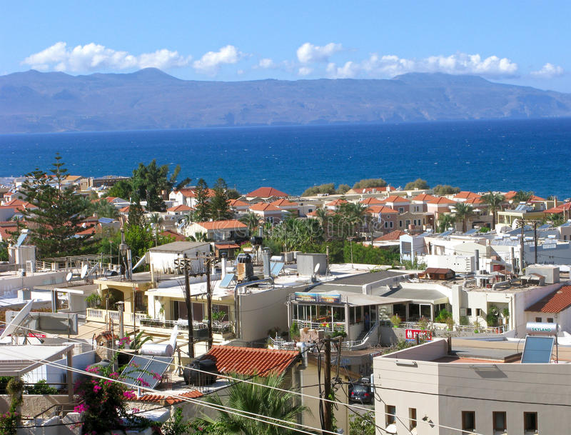 Τουριστικό θέρετρο Platanias, Κρήτη, Ελλάδα στοκ φωτογραφίες με δικαίωμα ελεύθερης χρήσης