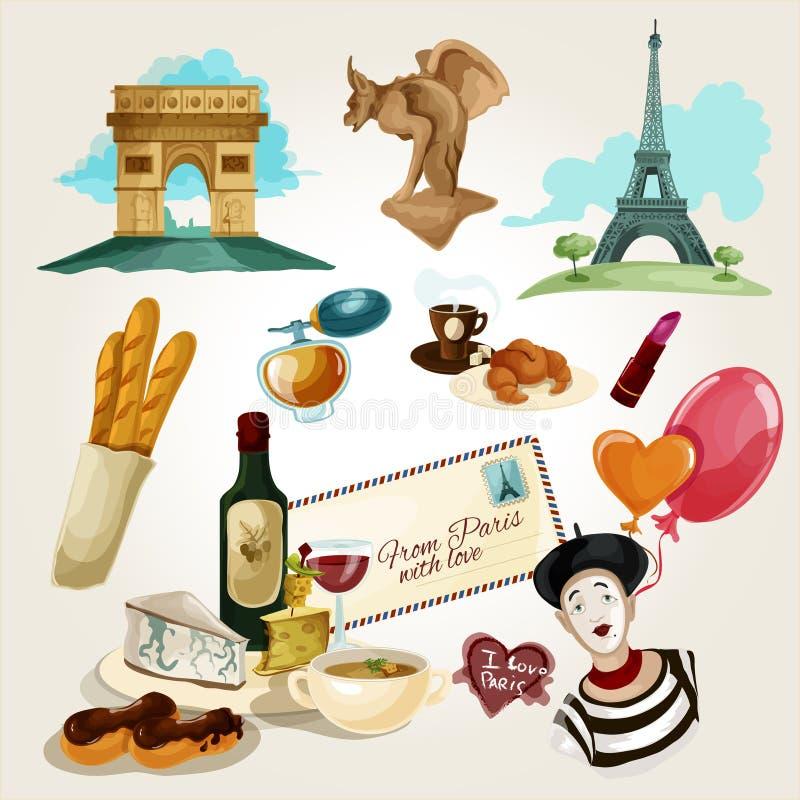 Τουριστικό σύνολο του Παρισιού διανυσματική απεικόνιση