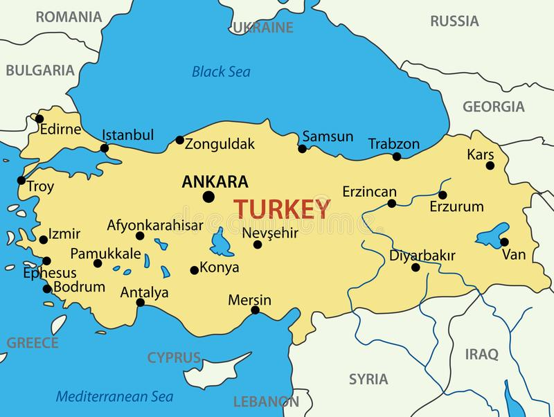 Τουρκική Δημοκρατία - διανυσματικός χάρτης διανυσματική απεικόνιση