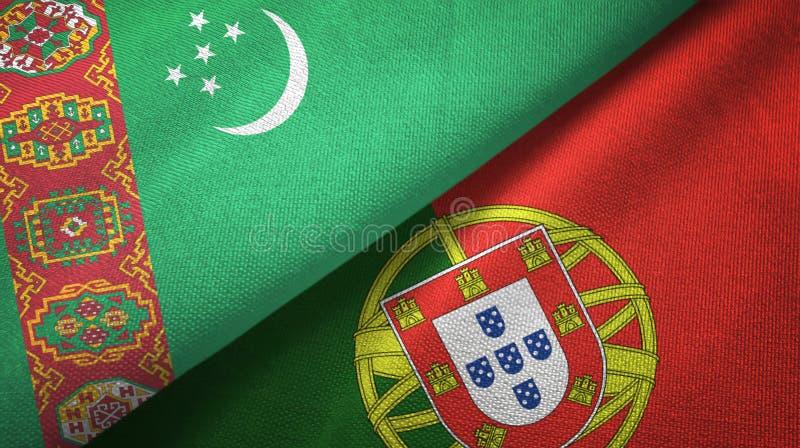 Τουρκμενιστάν και Πορτογαλία δύο υφαντικό ύφασμα σημαιών, σύσταση υφάσματος απεικόνιση αποθεμάτων