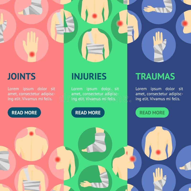 Τους ανθρώπινους τραυματισμούς καθορισμένους το σύνολο Vecrtical εμβλημάτων πόνου επιδέσμων και κέντρου διάνυσμα ελεύθερη απεικόνιση δικαιώματος