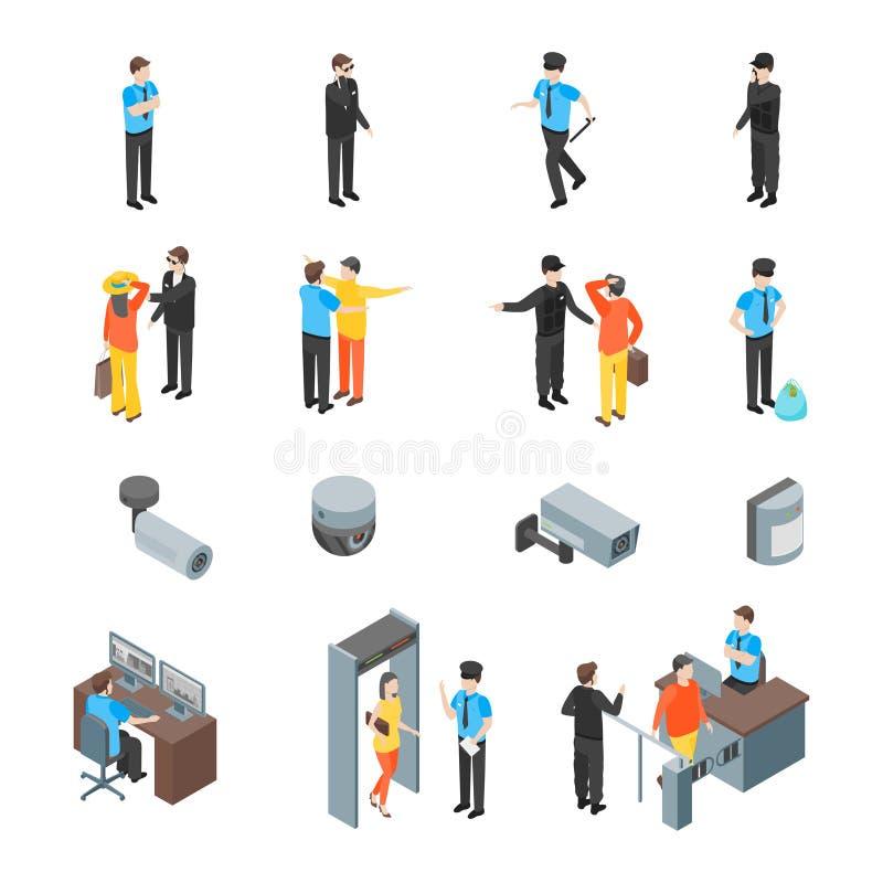 Τους ανθρώπους συστημάτων ασφαλείας και τα τρισδιάστατα εικονίδια εξοπλισμού καθορισμένους τη Isometric άποψη διάνυσμα απεικόνιση αποθεμάτων