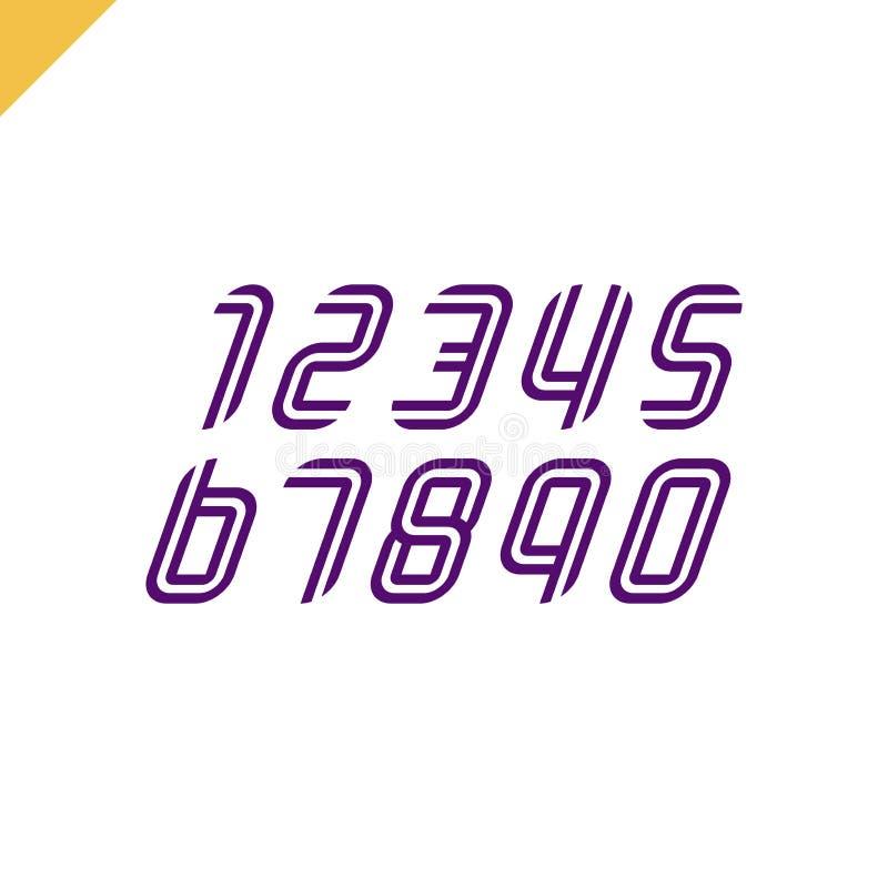 Τους αριθμούς αθλητικών πηγών καθορισμένους τα λογότυπα που διαμορφώνονται από τις παράλληλες γραμμές Διανυσματικό σχέδιο για το  απεικόνιση αποθεμάτων