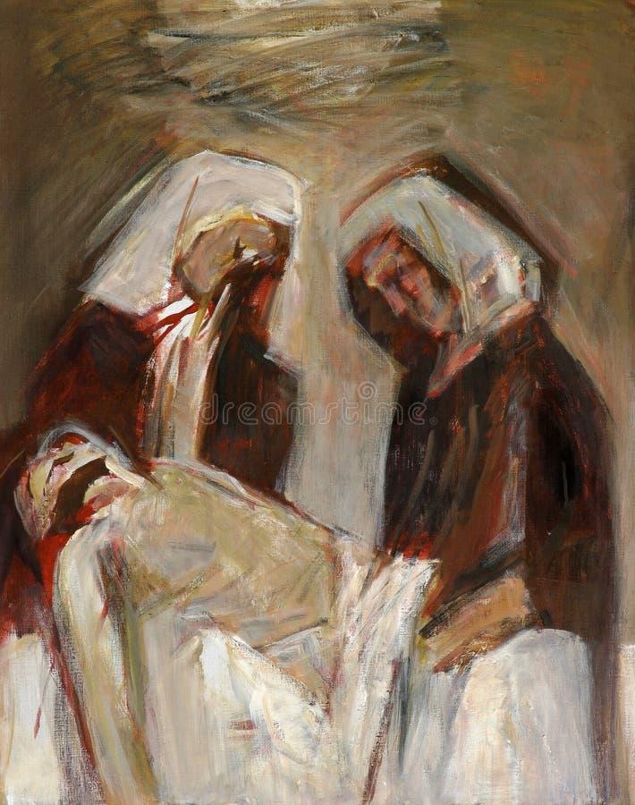 τους 14ους σταθμούς του σταυρού, Ιησούς τοποθετούνται στον τάφο και καλύπτονται στο θυμίαμα ελεύθερη απεικόνιση δικαιώματος