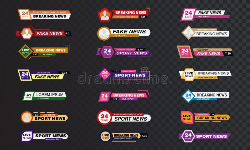 Τους φραγμούς ειδήσεων TV καθορισμένους το διανυσματικό, ρέοντας τηλεοπτικό σημάδι ειδήσεων, σπάσιμο, αθλητικές ειδήσεις Σημάδι δ διανυσματική απεικόνιση