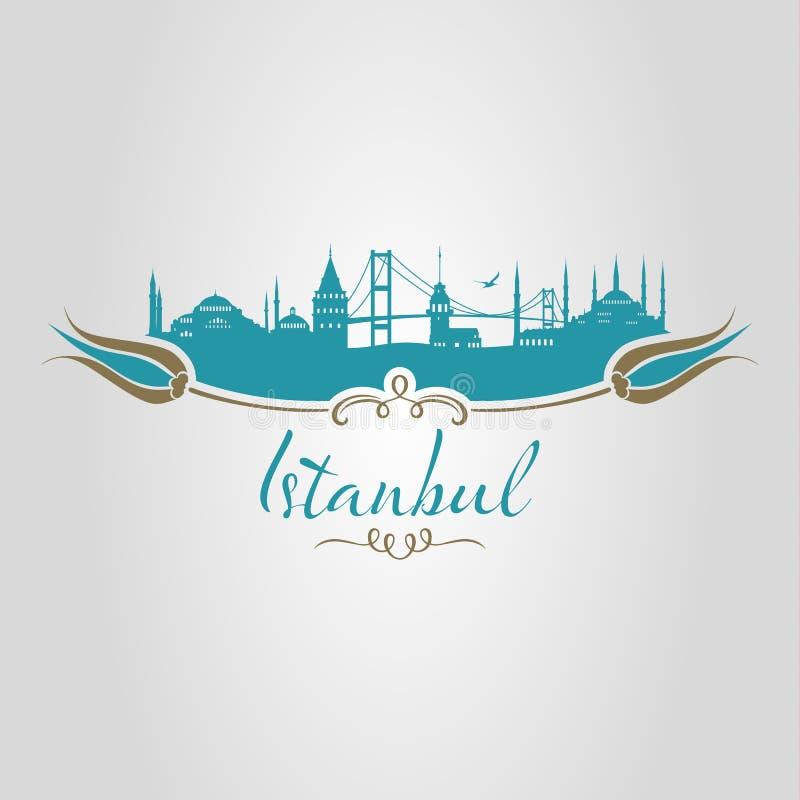 Τουλίπα σκιαγραφιών της Ιστανμπούλ διανυσματική απεικόνιση