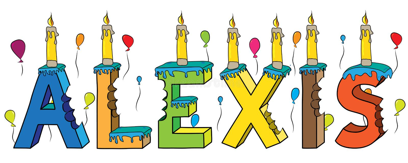 Του Αλέξης αρσενικό κέικ γενεθλίων ονόματος δαγκωμένο ζωηρόχρωμο τρισδιάστατο γράφοντας με τα κεριά και τα μπαλόνια απεικόνιση αποθεμάτων