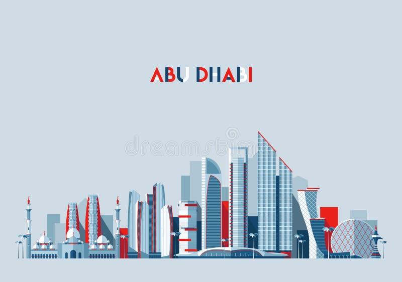 Του Αμπού Ντάμπι διανυσματικό επίπεδο σχέδιο εμιράτων οριζόντων αραβικό ελεύθερη απεικόνιση δικαιώματος