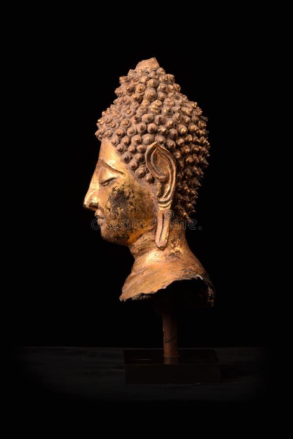 Του Βούδα επικεφαλής τέχνη Ταϊλάνδη Ayuttaya scrupture χρυσή καλύπτοντας στοκ φωτογραφία