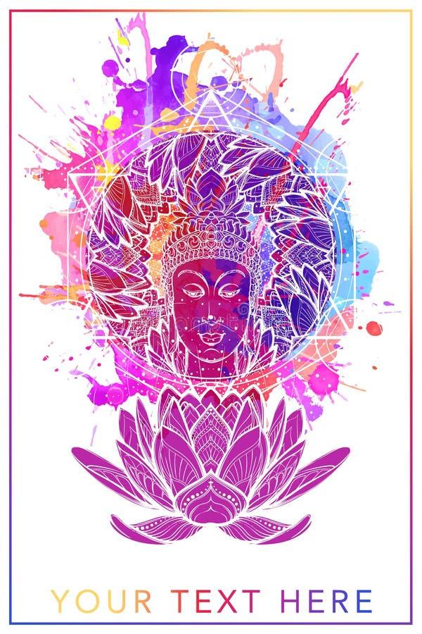Του Βούδα στην ενιαία θέση λωτού Hexagram που αντιπροσωπεύει το chakra anahata στη γιόγκα σε ένα υπόβαθρο ελεύθερη απεικόνιση δικαιώματος