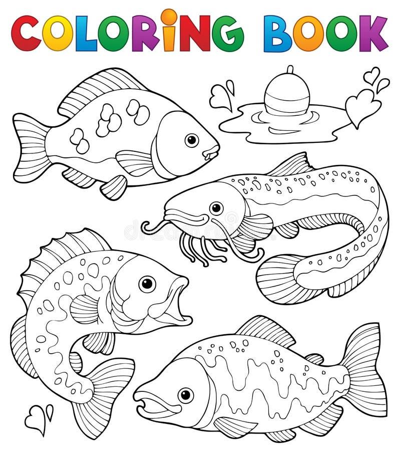 Του γλυκού νερού ψάρια 1 βιβλίων χρωματισμού ελεύθερη απεικόνιση δικαιώματος