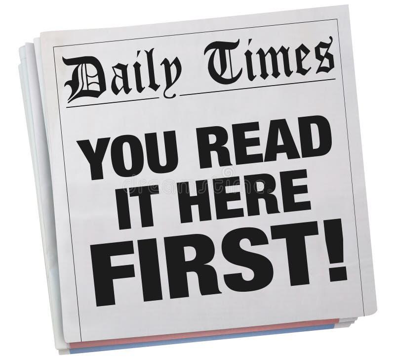 Του διαβάζετε εδώ πρώτα τον αποκλειστικό τίτλο εφημερίδων τρισδιάστατο Illustrat ελεύθερη απεικόνιση δικαιώματος
