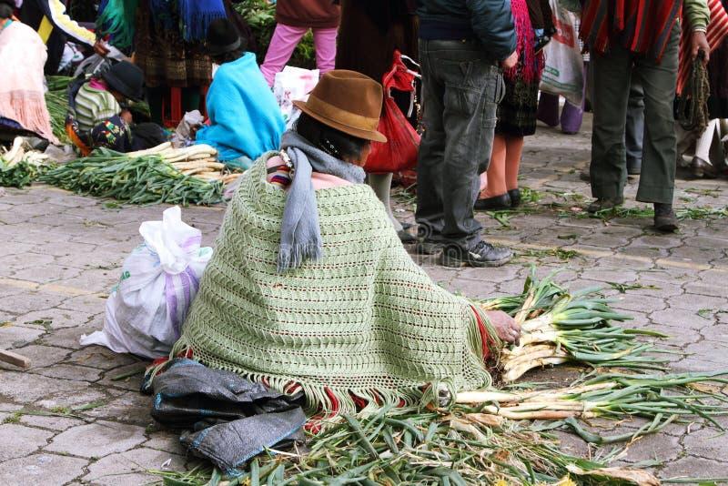 Του Εκουαδόρ εθνική γυναίκα με τα γηγενή ενδύματα που πωλούν τα λαχανικά σε μια αγροτική αγορά Σαββάτου στο χωριό Zumbahua, Ισημε στοκ εικόνες