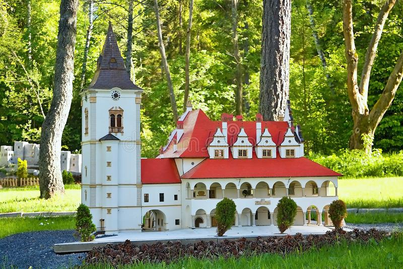 Του Ιαν. Liptovsky Σλοβακία, - 28 Μαΐου 2017: Μικρογραφία του αρχαίου Δημαρχείου σε Levoca σε αναλογία 1: 25 όμορφος στοκ φωτογραφίες