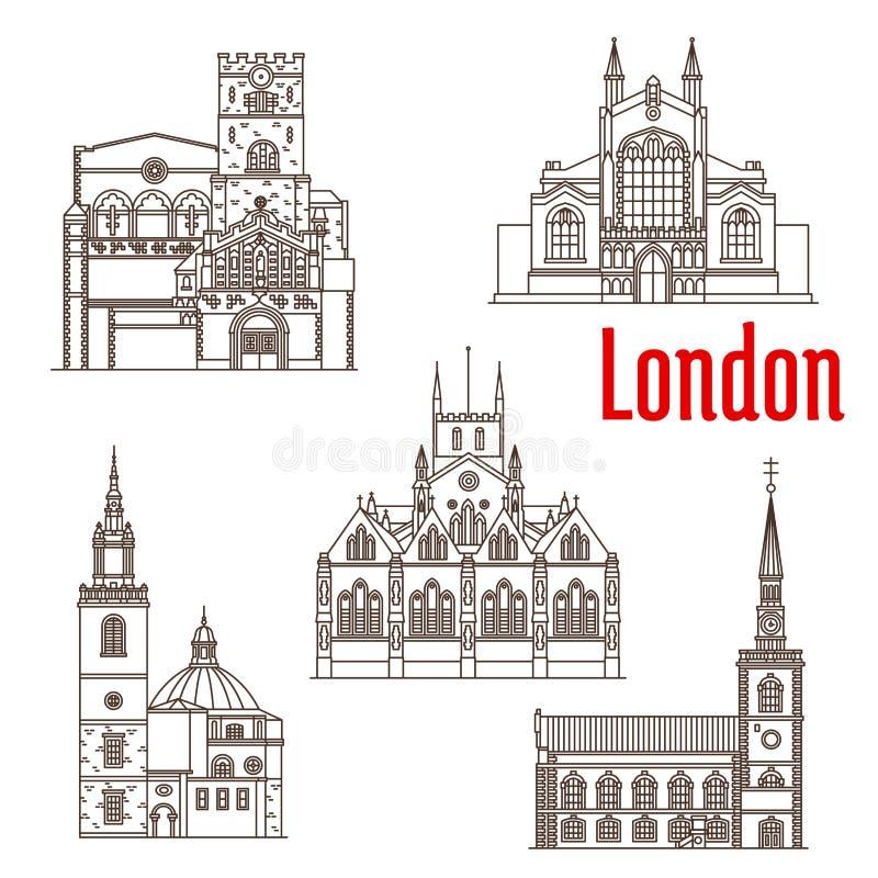 Του Λονδίνου διανυσματικά εικονίδια ορόσημων αρχιτεκτονικής διάσημα απεικόνιση αποθεμάτων